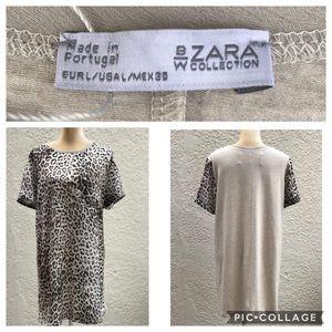 NWT ZARA Woman Leopard Short Sleeve Tunic Dress L